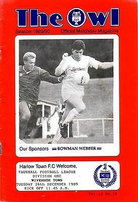 HARLOW TOWN v WIVENHOE TOWN 1989/90 VAUXHALL LEAGUE