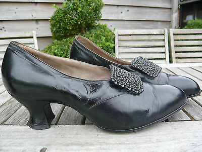 Genuine 1910/20's Shoes Black Leather Mary Jane Heels Metal Decor Sz 4 Ever-Eezi