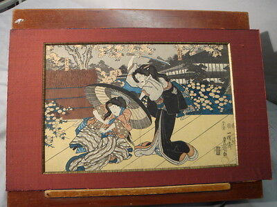 Antique Utagawa Kunisada Japanese Woodblock Print Man w/ Sword