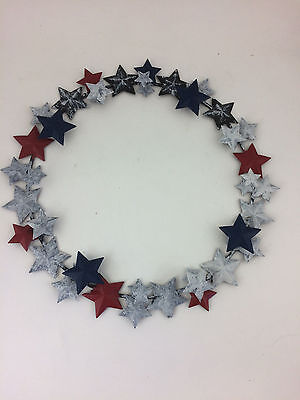 Longaberger Metalworks American Star Wreath Red White Blue in Box #71585