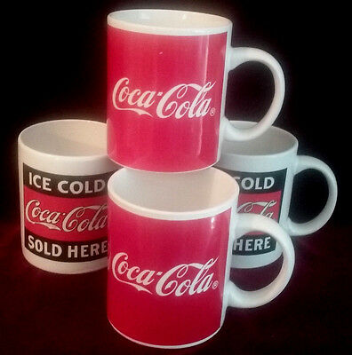 Coffee Cups Mugs Coke Coca Cola Advertising BOX LOT OF 4 Collectible