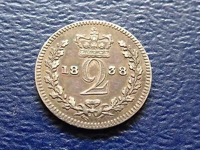 Queen Victoria Silver Maundy Twopence 1838 2D Great Britain Uk