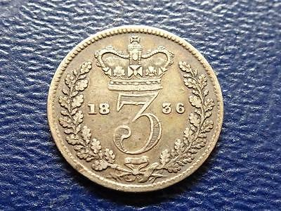 William Iiii Silver Threepence 1836 3D Nice Coin Great Britain Uk