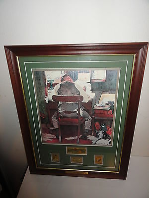 "Norman Rockwell's ""beating The Deadline"" Framed Picture With Stamps"