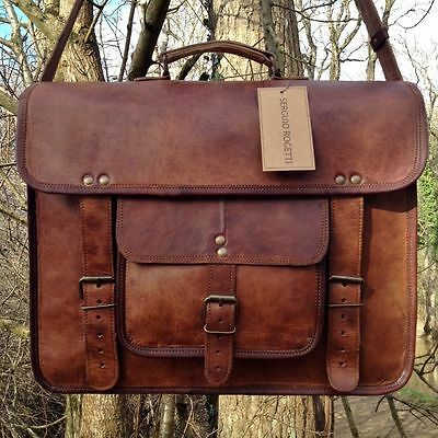 Men's Genuine Vintage Leather Messenger Laptop Briefcase Satchel Women Bag Brown