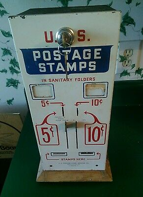 Vintage USPS Postage Stamp Coin Operated Machine 5 & 10 Cent