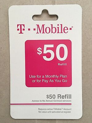 T-Mobile $50 Refill Prepaid Card - Monthly Plan Or Pay As You Go