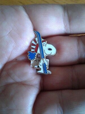 Vintage Aviva Snoopy pin  Red White Cap and Blue Skis