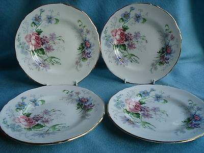 "Pretty Crown Staffordshire Vintage 6"" Plates x 4 - Englands Glory"