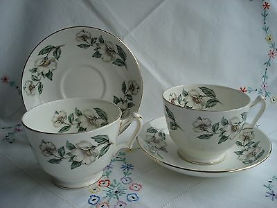 Pretty Crown Staffordshire Vintage Breakfast Cup and Saucer x 2
