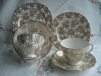 Lovely Royal Vale Vintage Bone China Tea Cup Saucer and Plate Trios x 2