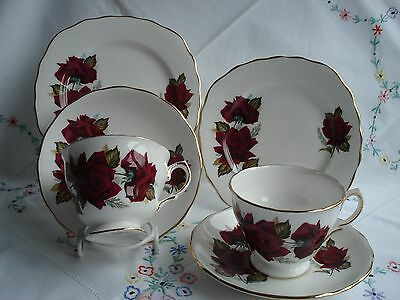 Lovely Royal Vale Vintage Bone China Tea Cup Saucer and Plate Trios x 2 #2