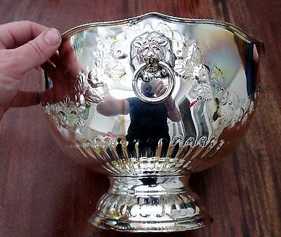 Large Silver On Copper Ice Bucket - Wine Or Champagne Cooler - Lion Head Handles