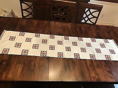 """Anatolian Hand Needle Lace Etamine Embroidered 17""""X68"""" Table Runner NEW"""