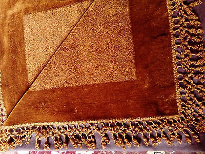 Genuine Antique Chenille Table Cloth /bed Throw, Old Gold, Or Rust Colour  Vgc