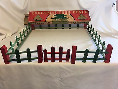 Vintage Feather Tree Wood Wooden Christmas Tree Fence Red & Green USA W/ Box