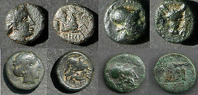 Lot -- 4 Greek Bronze Coins***art In Miniature Coinage