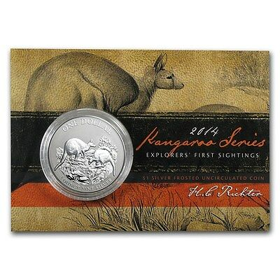 2014 Australia Kangaroo 1 Ounce .999 Silver Coin in Display Card