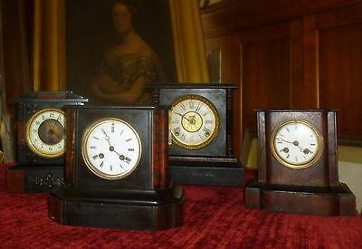 Four Antique 19th Century Mantel Clocks French MARBLE Japy Freres Ansonia Chime