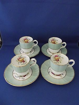 Beautiful Set Of Four Royal Worcester Cups And Saucers