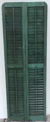 Antique Pair Rounded Arched Wood Louvered Shutter Shabby Vtg Chic 12-17P