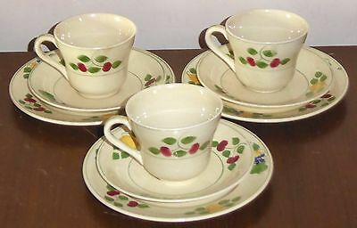 Adams Titian Ware Royal Ivory fruit pattern 3 x cup, saucer, plate trios 1920s
