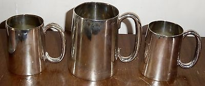1 x pint Walker & Hall and 2 x ½ pint Mappin Victorian silver plated tankards