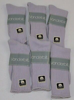 VINTAGE 1980's Lot of 6 Pairs Cotton Blend LILAC PURPLE Crew SOCKS - NOS
