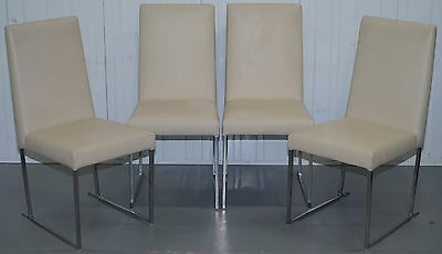 Four Rrp £5060 Antonio Citterio B&b Italia S47 Solo Dining Chairs Cream Leather