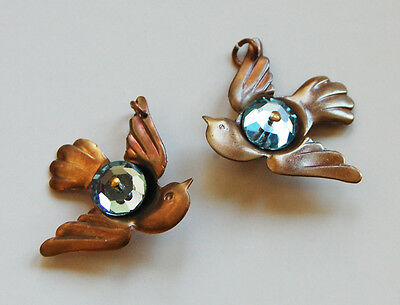 Vintage 2 Raw Brass Sparrow In Flight Pendants Bird Beads • Swarovski Glass