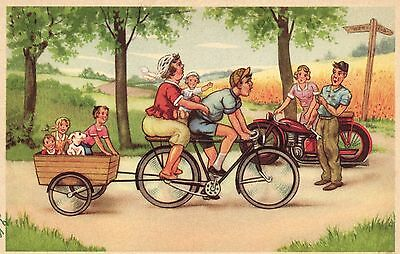motorcycle couple bicycle artist postcard Ca 1950's