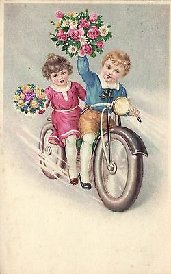 boy and girl with flowers motorcycle artist postcard 1943