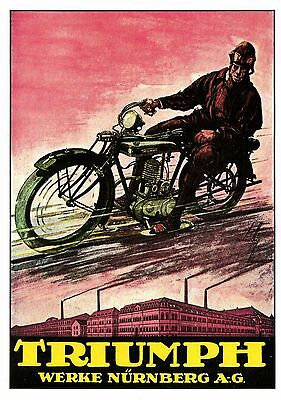 modern size  motorcycle artis advertising TRIUMPH postcard 4.1 X 5.8 inches