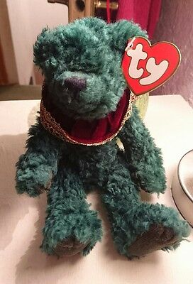 "TY ATTIC TREASURE BEAR ""LAUREL"" Happy Holly-Days, with Tag  & protector."