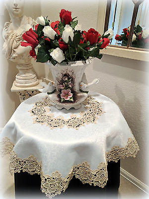 """34"""" Rose Lace Soft Gold & Ivory Doily Table Topper Tablecloth Vintage Design"""