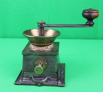 RARE Antique T & C Clark & Co Cast and Brass Primitive Coffee Grinder Mill