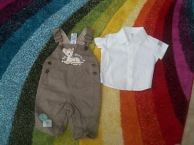 boys disney bambi dungarees and shirt age 0.3 months never been worn