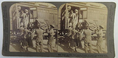 Stereoview Major Russell & Sister Rose receiving wounded on a hospital train