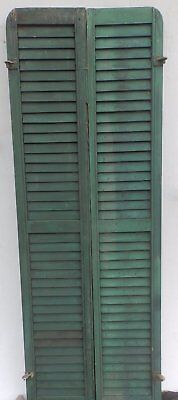 Antique Pair Rounded Arched Wood Louvered Shutter Shabby Vtg Chic 17-17P