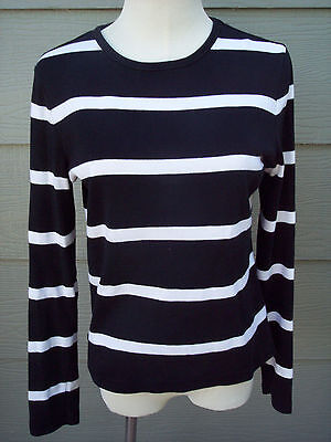 Lauren Ralph Lauren Girls Sweater Sz M Black White Striped Light Weight Cotton