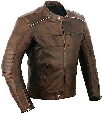 Vagos Motorbike Leather Jacket Motorcycle Protection Double Zip CE Armours