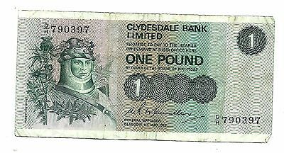 Scotland Clydesdale Bank (P204b) 1 Pound 1972