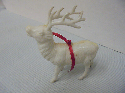 "Reindeer White Plastic Ornament 3.25"" Tall Retro"