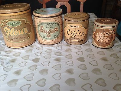 Vintage 4 piece tin tea coffee sugar flour canisters VERY used
