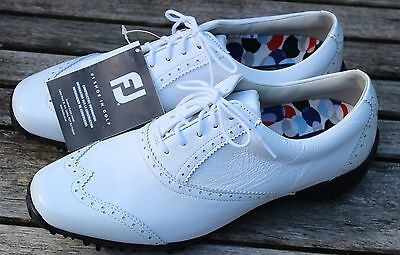 New - Genuine FOOTJOY Ladies Lopro White Leather Golf Shoes UK 6.5 EU 40 M