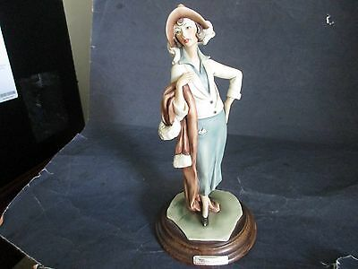 Vittorio Tessaro Figurine-Capodimonte-Woman Holding Coat-Made In Italy-Signed