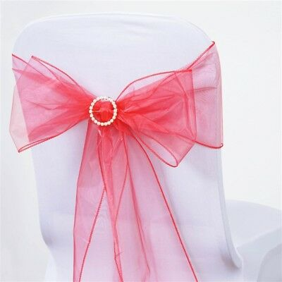 10 Coral Sheer Organza CHAIR SASHES Ties Bows Wedding Party Decorations SALE