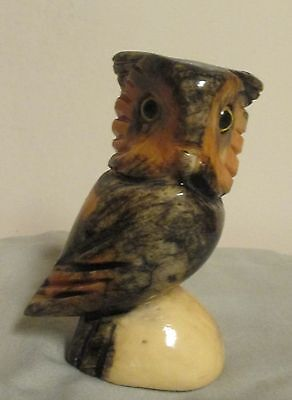 Vintage Hand Carved Alabaster Marble Owl Figurine Glass Eyes Made in Italy