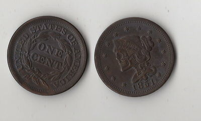 Lot of 3 Hobo Nickel Style Novelty Coins 1851 Large Cent & 2 1909 Lincoln Penny