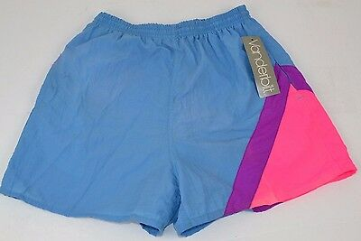 Vtg 1980's Slick Blue Track SHORTS w/ NEON Pink/Purple Trim Women's MEDIUM - NOS